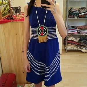 Vintage Hippie Boho Hand Made Knitted Dress S